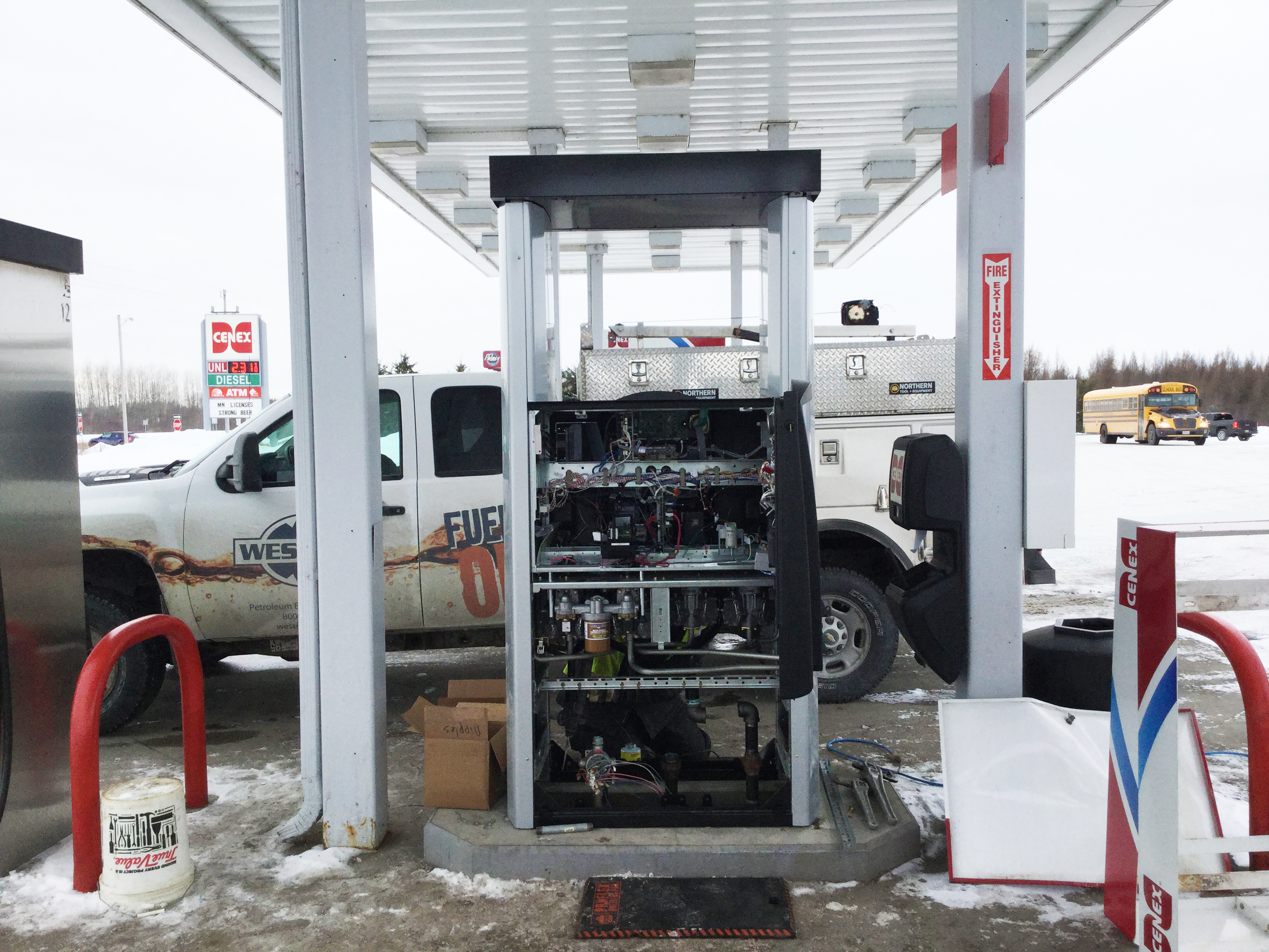 Service techs coordinate with local electricians to complete the rewiring necessary to install new fuel pumps.